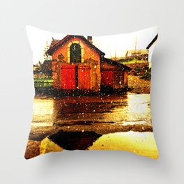 little house and snow Throw Pillow