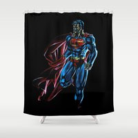 superman Shower Curtains featuring Superman by DmDan