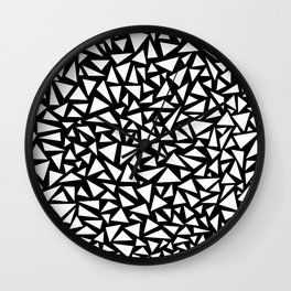 White triangles on Black background Wall Clock