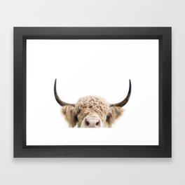 Peeking Highland Cow Framed Art Print
