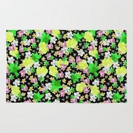 Green Floral Haze Rug
