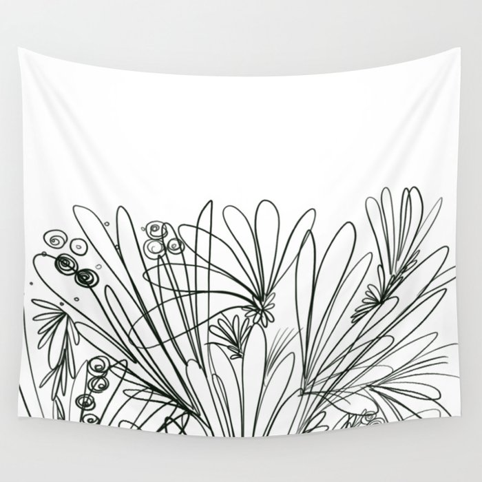 SingleLine abstract floral Wall Tapestry