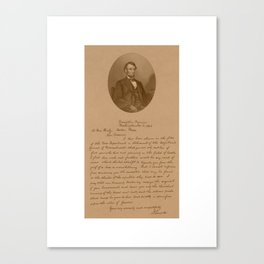 President Lincoln Letter To Mrs. Bixby  Canvas Print
