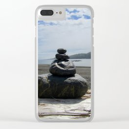 Finding Balance at the Beach Clear iPhone Case