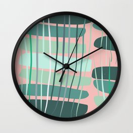 Green Pink Foliage Abstract Tropical Pattern Decor Wall Clock