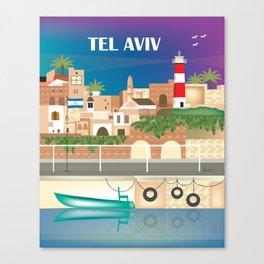 Tel Aviv, Israel - Skyline Illustration by Loose Petals Canvas Print