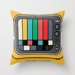 yellow tv and test card Throw Pillow