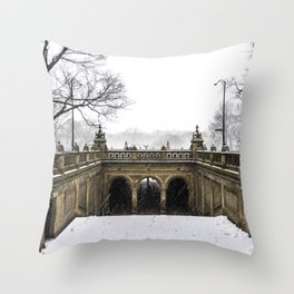 NYC Blizzard of 2015 in Central Park Throw Pillow
