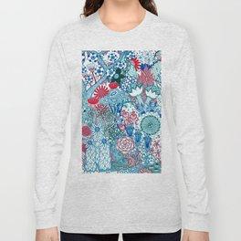 Floral Jungle Blue Long Sleeve T-shirt