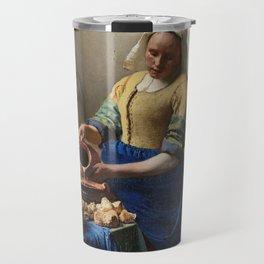 The milkmaid, Johannes Vermeer, ca. 1660 Travel Mug