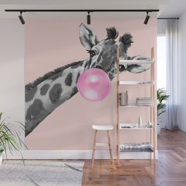 Bubble Gum Sneaky Giraffe Pink Wall Mural