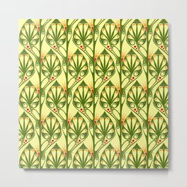 Stylized Boho Leaf Pattern Metal Print