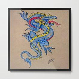 blue dragon parchment card (square) Metal Print