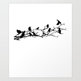 Crows Perched on Tree Branch Art Print