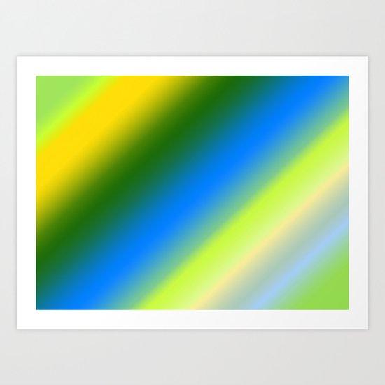 Lemon & Lime Stripes Art Print