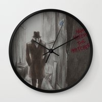rorschach Wall Clocks featuring Rorschach by JadeJonesArt