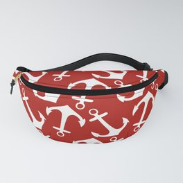 Maritime Nautical Red and White Anchor Pattern - Anchors Fanny Pack
