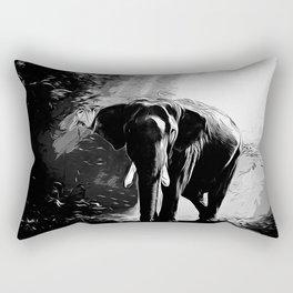 elephant jungle sunray va bw Rectangular Pillow