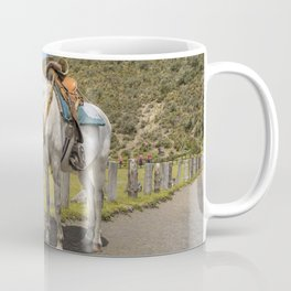 White Horse Tied Up at Cotopaxi National Park Ecuador Coffee Mug