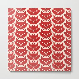 Mid Century Modern Cat Red Metal Print