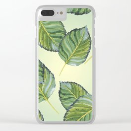 Large Leaves Pattern Clear iPhone Case