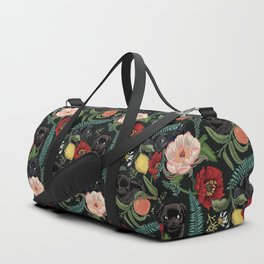 Botanical and Black Pugs Duffle Bag