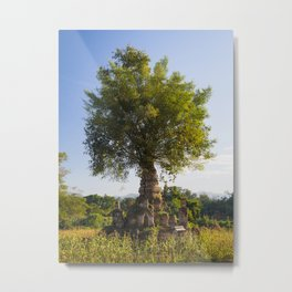 Tree growing out of a stupa in Hsipaw, Myanmar | Travel photography Asia Metal Print