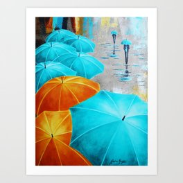 Turquoise and ocre Art Print