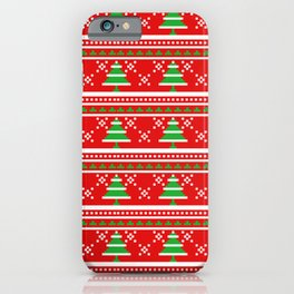 Pixeled Christmas Tree On Red Christmas Pattern iPhone Case