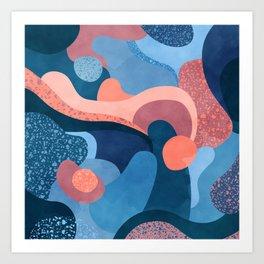 Terrazzo galaxy blue wave pink Art Print