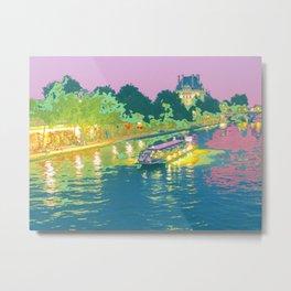 Paris in Pastel - Seine Evening Metal Print