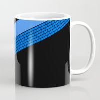 tron Mugs featuring Tron Wall by Krzysztof Kaluszka