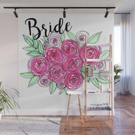 Bride Wedding Pink Roses Watercolor Wall Mural