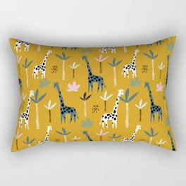 Giraffe Parade on Mustard Yellow Rectangular Pillow