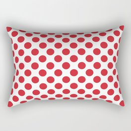White and red polka dots Rectangular Pillow