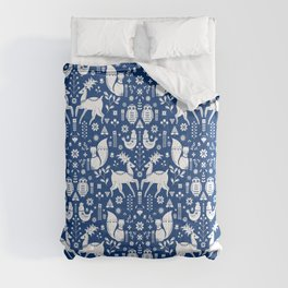 Whimsical Scandinavian Folk Art With Cute Forest Animals Comforters