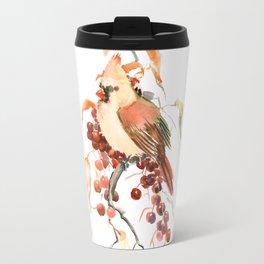 Cardinal and Berries Travel Mug