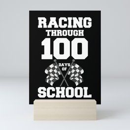 Racing Through 100 Days of School Race Car Themed Mini Art Print