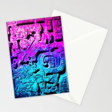 Aztec city  in cyan Colors Stationery Cards