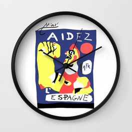 Joan Miro Help Spain, Aidez Espagne 1980 Artwork for Prints Posters Tshirts Bags Women Men and Kids Wall Clock