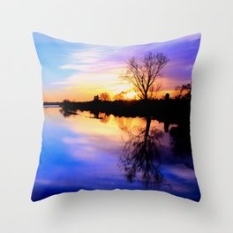 River in flood at sunset Throw Pillow