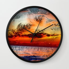 Great Lake Michigan Romantic Sunset (Painting) Wall Clock