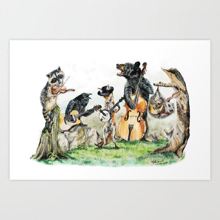 """ Bluegrass Gang "" wild animal music band Kunstdrucke"