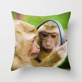 Monkey Mirror (Color) Throw Pillow