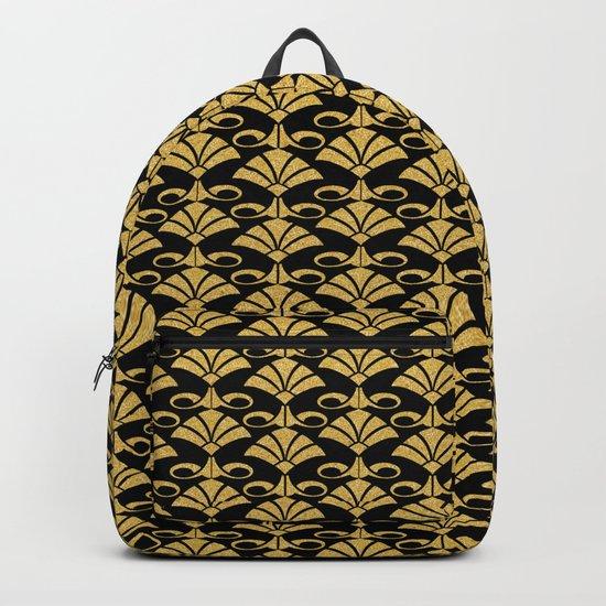 Wonderful gold glitter art deco pattern on black backround I- Luxury design for your home Backpack