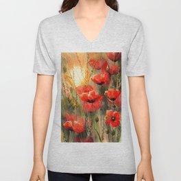 Real Red Poppies Unisex V-Neck