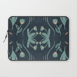 Floral Symmetry Pattern in Deep Blue And Teal Laptop Sleeve
