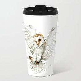 Barn Owl Flying Watercolor | Wildlife Animals Travel Mug