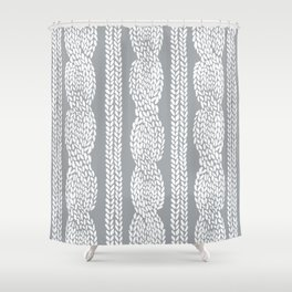 Cable Grey Shower Curtain