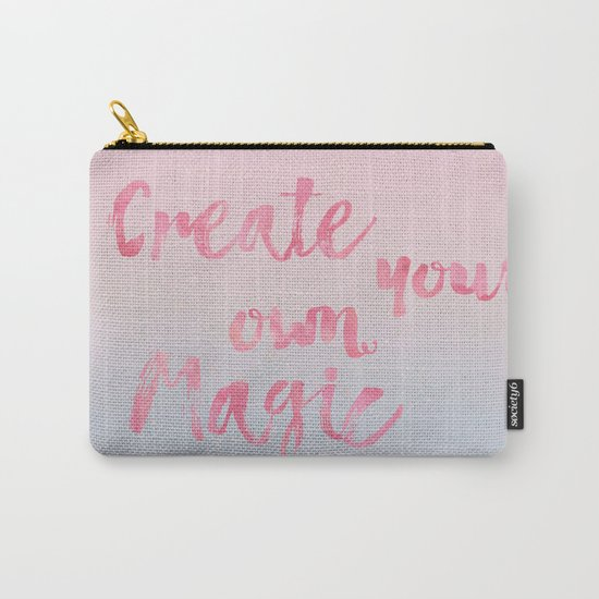 Create Magic  inspirational typography pastel watercolor Carry-All Pouch